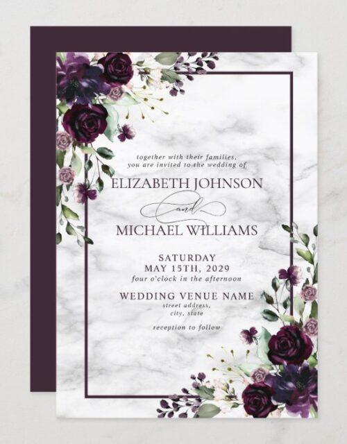 Plum Purple Flower Watercolor Marble Fall Wedding Invitation