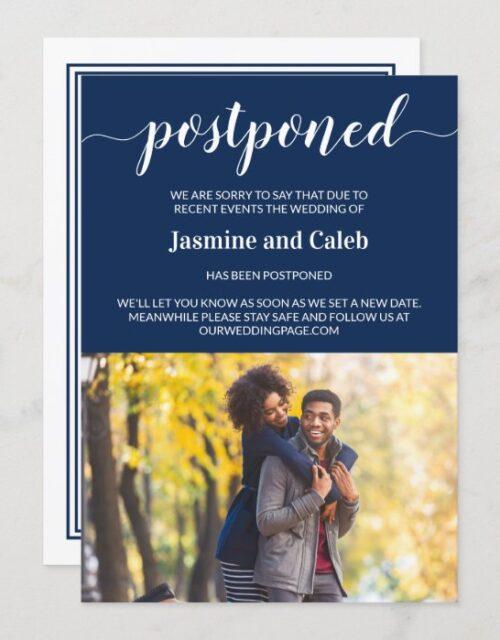Postponed Wedding Elegant Navy Blue Photo Card