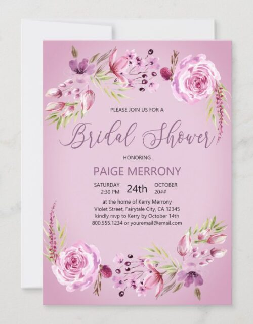 Pretty Purple Floral Watercolor Bridal Shower Invitation