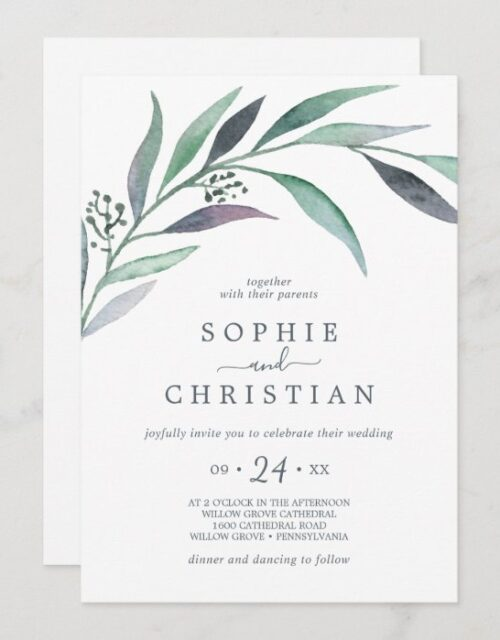 Purple and Green Eucalyptus All In One Wedding Invitation