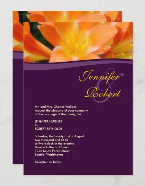 Purple and Orange Formal Wedding Invitation