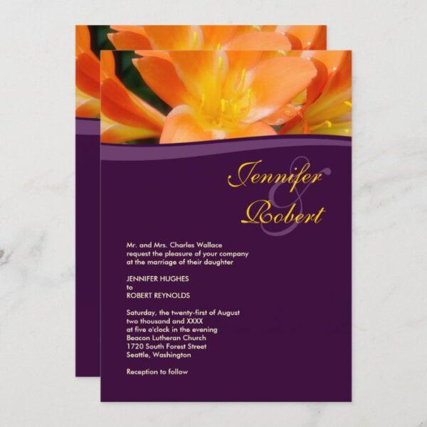 Purple and Orange Formal Wedding Invitation