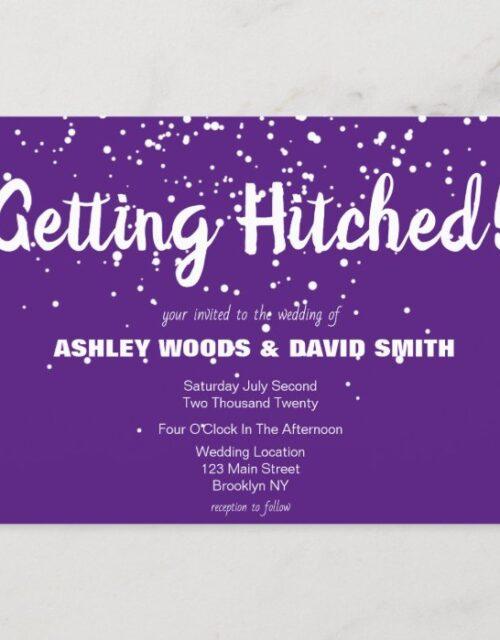 Purple and White Modern Wedding Invitation