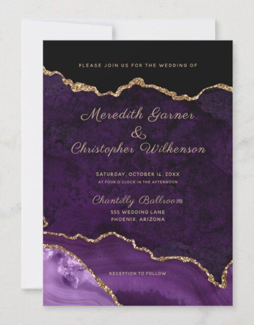 Purple Elegance Gold Glitter Agate Wedding Invitation