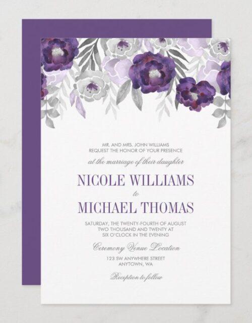 Purple Gray Watercolor Flowers Wedding Invitations