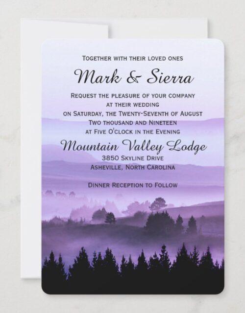 Purple Rustic Mountain Wedding Invitation