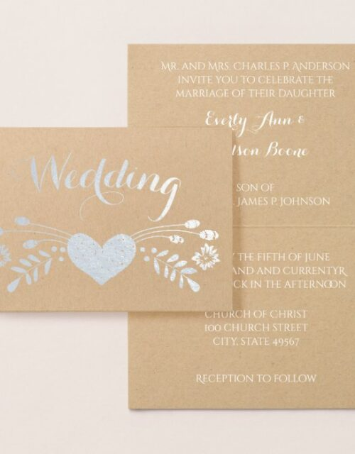 Real Foil Floral Typography Wedding Invitations
