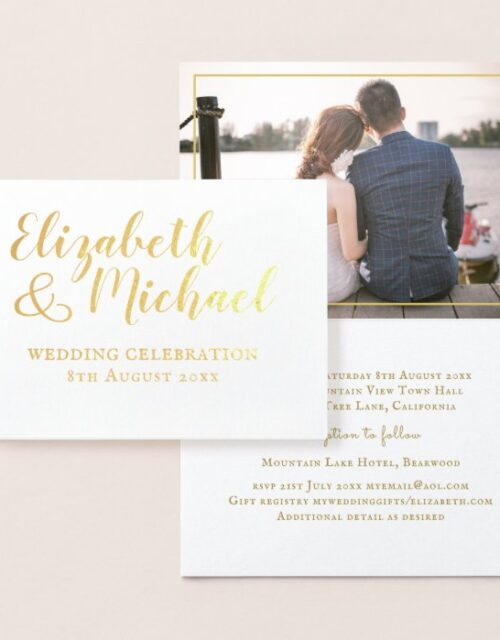REAL GOLD FOIL classic white PHOTO Wedding Invites