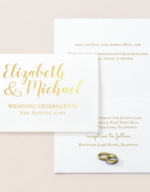 REAL GOLD FOIL classic white wedding invitations