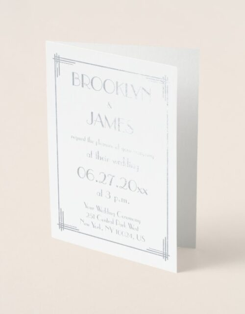 Real Silver Art Deco Wedding Invitations Cards