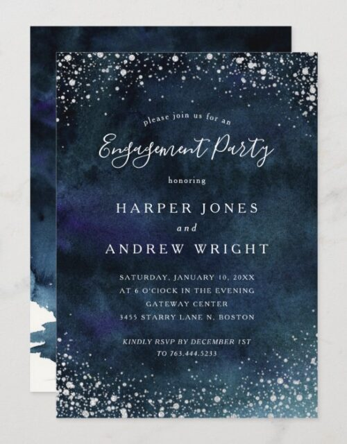 Romantic Navy Blue Silver Engagement Party Invitation