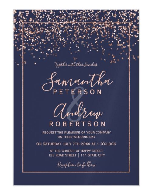 Rose gold confetti navy blue typography wedding magnetic invitation