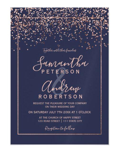 Rose gold confetti navy blue typography wedding magnetic invitation
