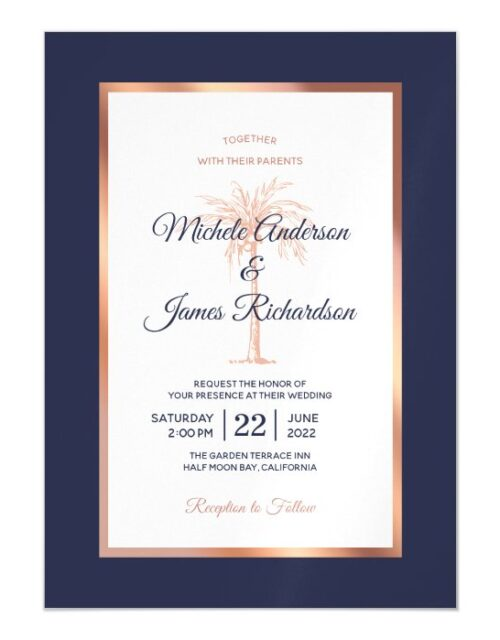 Rose Gold Copper Navy Blue Palm Tree Beach Wedding Magnetic Invitation