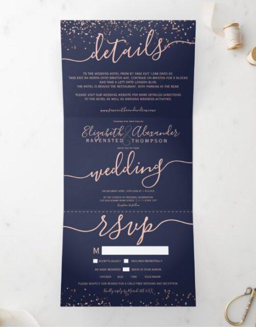 Rose gold glitter confetti navy blue seats wedding Tri-Fold invitation