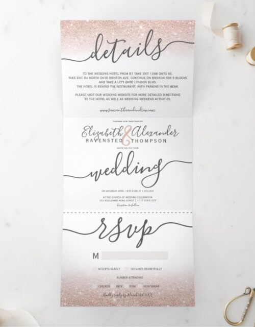 Rose gold glitter ombre white script chic wedding Tri-Fold invitation