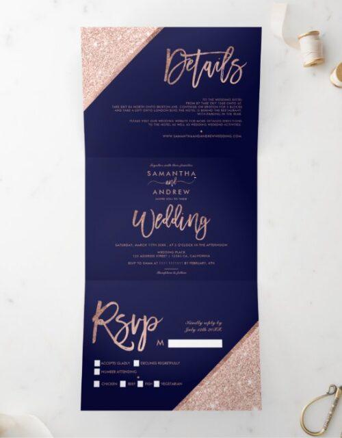 Rose gold glitter typography navy blue wedding Tri-Fold invitation