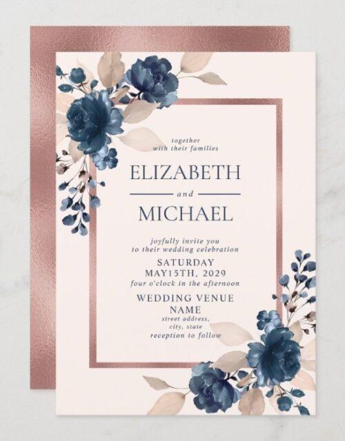 Rose Gold Navy Blue Dusty Pink Floral Wedding Invitation