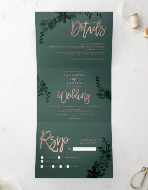 Rose gold script Floral green elegant wedding Tri-Fold Invitation