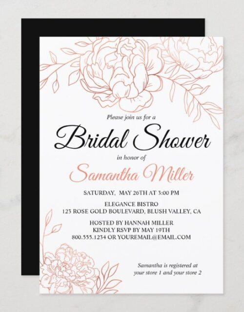 Rose Gold Sketched Flowers Elegant Bridal Shower Invitation