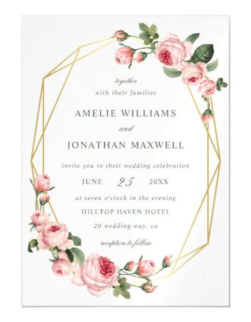 Rose Romance | Geometric Wedding Invitation
