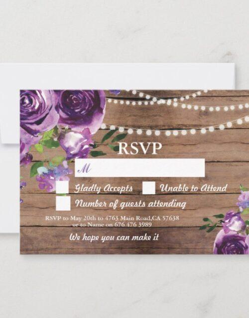 RSVP Wedding Wood Cards Purple Flowers Invites