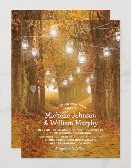 Rustic Autumn Leaves Mason Jar Lights Wedding Invitation