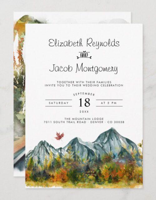 Rustic Autumn Mountain Wedding Invitation