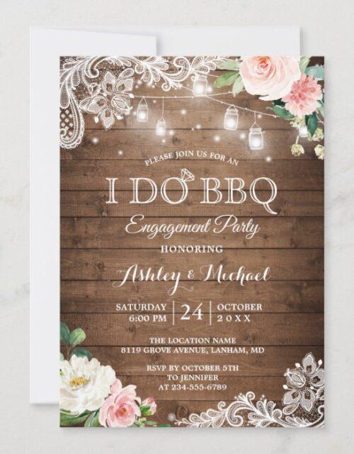 Rustic Backyard I DO BBQ Engagement Party Invitation