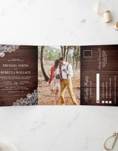 Rustic Barn Wood Lace Wedding Photo Tri-Fold Invitation