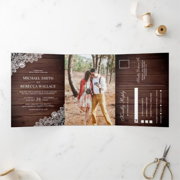 Rustic Barn Wood Lace Wedding Photo Tri-Fold Invitation