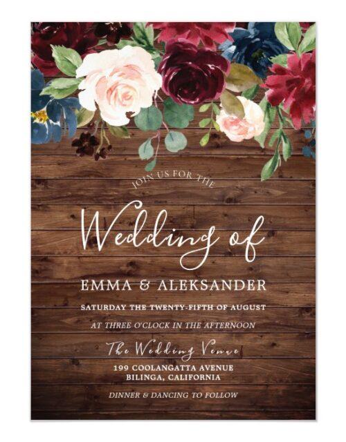 Rustic Burgundy Red Wine Floral Modern Wedding Magnetic Invitation