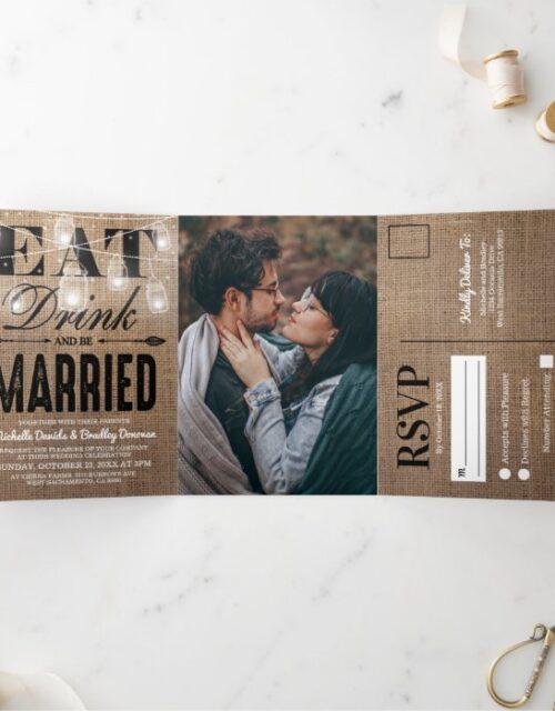 Rustic Burlap Mason Jar All in One Wedding Tri-Fold Invitation