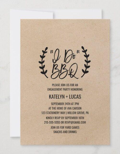 Rustic Chic Faux Kraft Calligraphy I Do BBQ Invitation