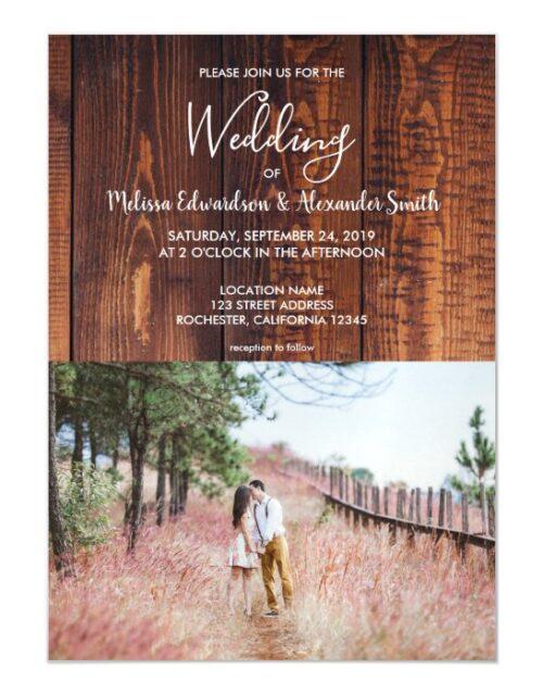 Rustic country barn wood elegant photo wedding magnetic invitation