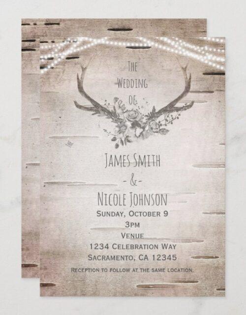 Rustic Deer Antlers & White Birch Vintage Wedding Invitation