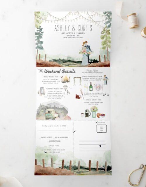 Rustic Forest Woods Wedding   Tri-Fold Invitation
