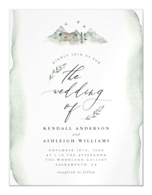 Rustic Greenery Watercolor Leaves Outdoor Wedding Magnetic Invitation