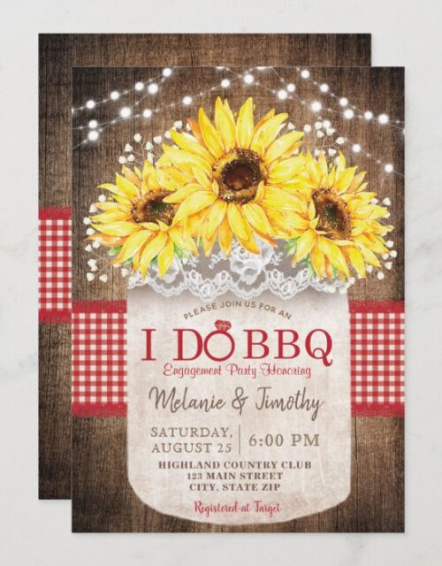 Rustic I Do BBQ Sunflower Engagement Invitations