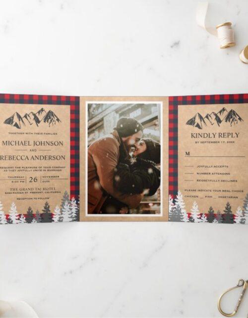 Rustic Kraft Red Buffalo Plaid Mountain Wedding Tri-Fold Invitation