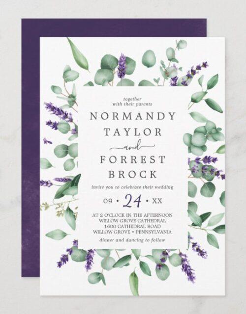 Rustic Lavender & Eucalyptus Floral Frame Wedding Invitation