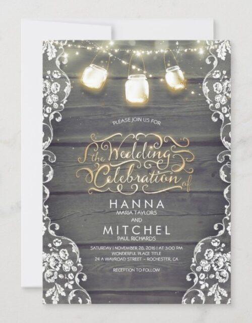 Rustic Mason Jar Lights Wood and Lace Wedding Invitation