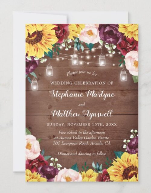 Rustic Sunflower Fall Floral Lights Wood Wedding Invitation