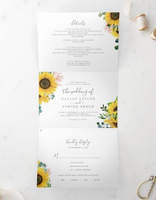 Rustic Sunflower Photo Wedding All In One Tri-Fold Invitation