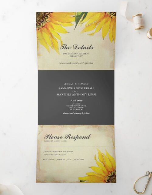 Rustic Sunflowers All In One Wedding Invite