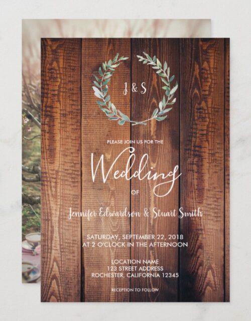 Rustic watercolor leaves monogram photo Wedding Invitation