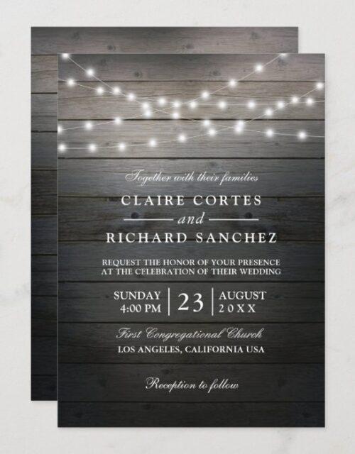 Rustic Wood and String Lights Wedding Invitation