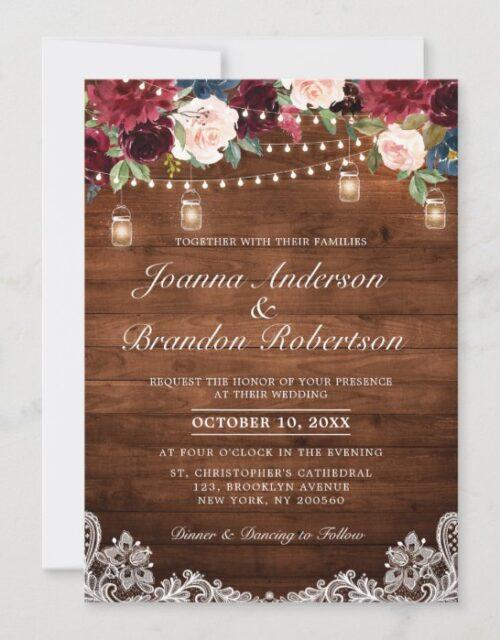 Rustic Wood Burgundy Floral Mason Jar Wedding Invitation