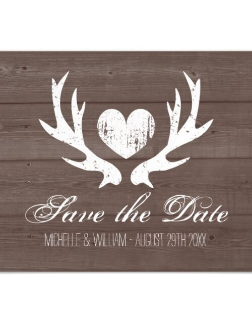 Rustic wood deer antler wedding save the date magnetic invitation