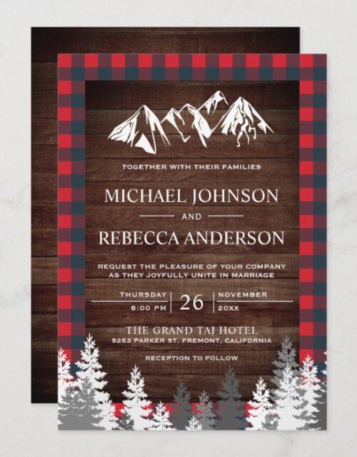Rustic Wood Red Buffalo Plaid Mountain Wedding Invitation